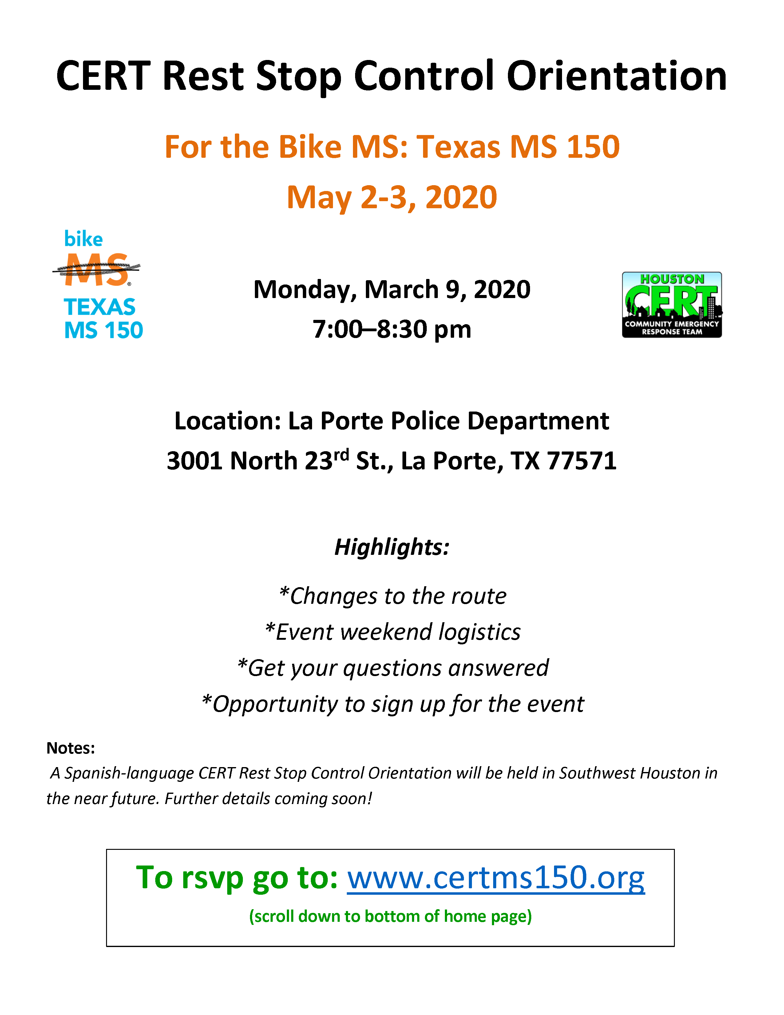 Bike MS Texas MS 150 - March 9 Rest Stop Control Orientation
